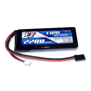 Batterie Recepteur LIPO 2200 - 7.4V Plat EZP2200-2RX