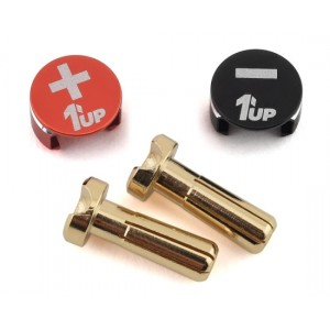 1UP Racing LowPro Bullet Plug Grips w/4mm Bullets (Black/Red) 190431
