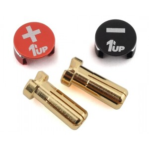 1UP Racing LowPro Bullet Plug Grips w/5mm Bullets (Black/Red) 190432
