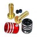 1UP Racing Heatsink Bullet Plug Grips w/4mm Bullets (Black/Red) 190435