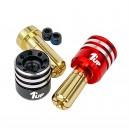 1UP Racing Heatsink Bullet Plug Grips w/5mm Bullets (Black/Red) 190436